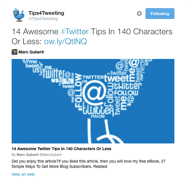 Tweet Promoting Blog Post