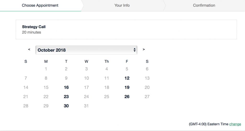 acuity scheduling calendar